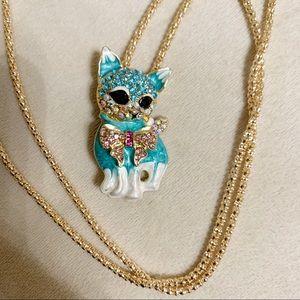 Betsey Johnson Crystals cute kitty cat kitten NWT